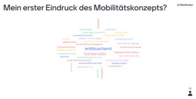 In einer Wortwolke wurden die Reaktionen der Teilnehmenden auf das Mobilitätskonzept erfasst.